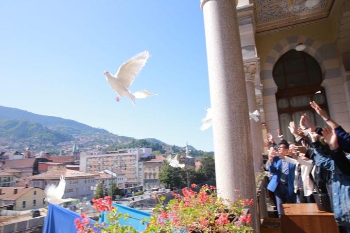 Sarajevo obilježilo Međunarodni dan mira simboličnim puštanjem golubova sa Vijećnice